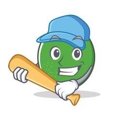 Playing baseball lime character cartoon style vector
