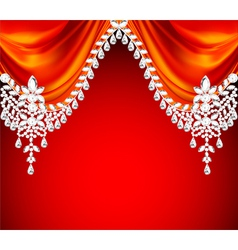 red background with precious stones vector image