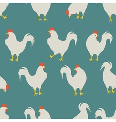 rooster pattern blue vector image