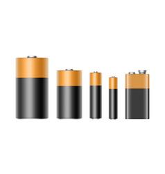 Set of alkaline batteries and 9 volt battery vector