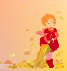 Smiling girl on abstract autumn vector