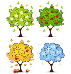 tree four seasons vector image vector image