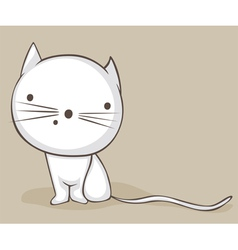 white kitty vector image