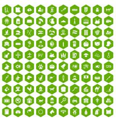 100 pets icons hexagon green vector
