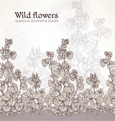 Wild flowers field seamless decorative border vector