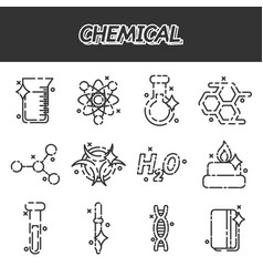 Chemical concept icons vector