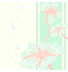 Decorative floral background with blue flowers vector