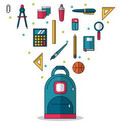 White background with backpack in closeup and vector