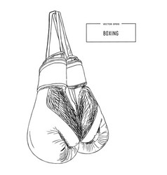 Vintage boxing gloves hanging sketch vector