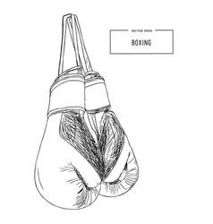 vintage boxing gloves hanging sketch vector image