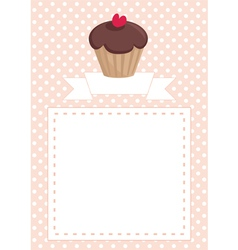 Invitation card with chcocolate muffin on dots vector image