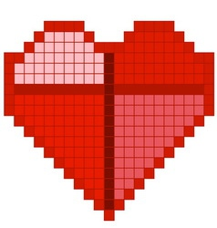 Red pixel heart vector image