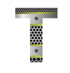 perforated metal letter T vector image