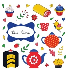 Colorful tea party set vector