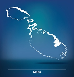 Doodle map of malta vector
