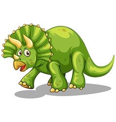 Green dinosaur with horns vector