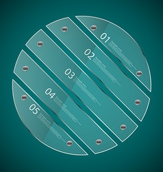 Glass circle divided to five separate parts on vector