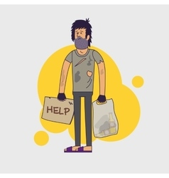Dirty homeless in need of help and work vector