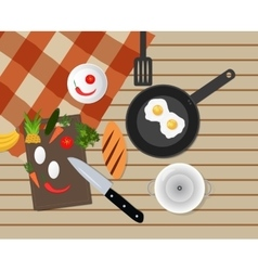 Kitchen table top with various objects vector