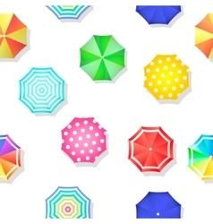 Beach set of sun umbrellas top view seamless vector image vector image