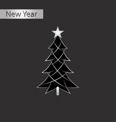 Black and white style icon of christmas tree vector