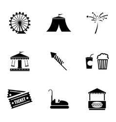 black carnival icons set vector image