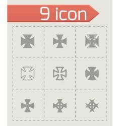 black choppers crosses icon set vector image