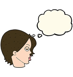 cartoon woman raising eyebrow with thought bubble vector image