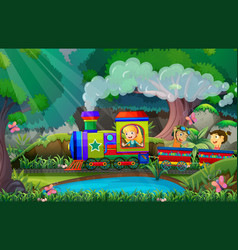 children ride on train in the woods vector image vector image