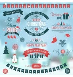 Christmas set labels emblems on winter background vector