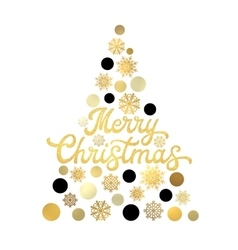Christmas tree with gold glittering lettering vector image