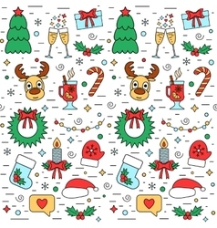 Colorful Christmas and New Year holiday seamless vector image vector image