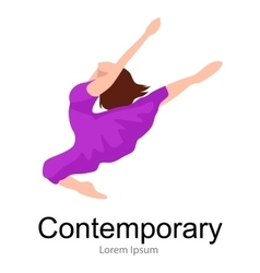 Contemporary dancer young girl jumping in dance vector