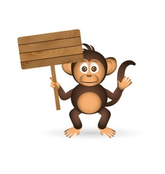 cute chimpanzee little monkey holding empty wood vector image