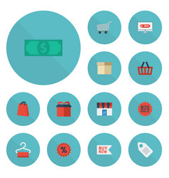 flat icons cash shopping buy now and other vector image