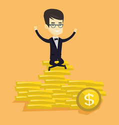 happy business man sitting on golden coins vector image