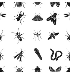 Insects pattern icons in black style big vector