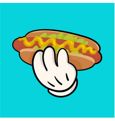 Llustration with hotdog and holding hand vector