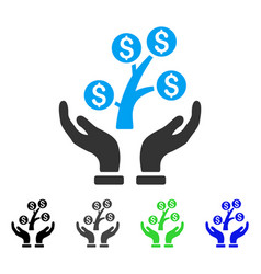 Money tree care hands flat icon vector