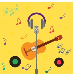 musical card with guitar vector image