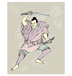 samurai warrior with katana sword vector image vector image