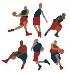 set of basketball player vector image vector image