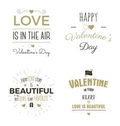 Set of valentine day typography photo overlays vector