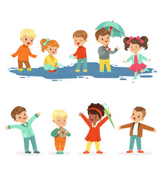 Smiling little kids playing on puddles set for vector