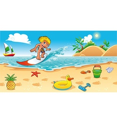 Surfing in the sea vector