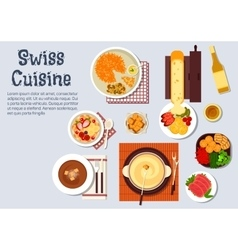 Traditional swiss cuisine dinner dishes vector