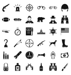 Weapon icons set simple style vector