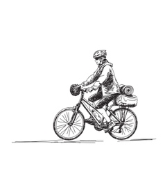 Woman travel on bicycle vector