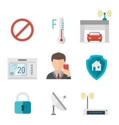 Remote home control system icons vector