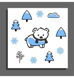Greeting card with bear in scarf and winter vector